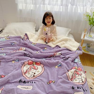 2020新款-牛奶魔法绒毛毯小模特图 200*230 梦幻独角兽