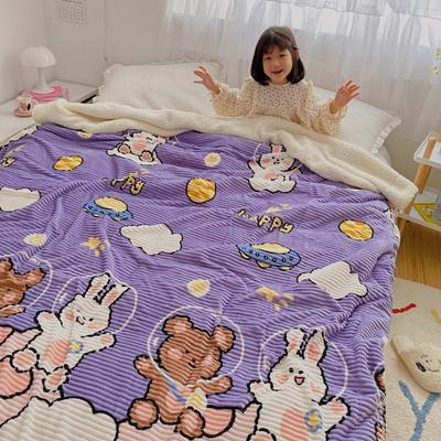 2020新款-牛奶魔法绒毛毯小模特图 200*230 兔熊之旅