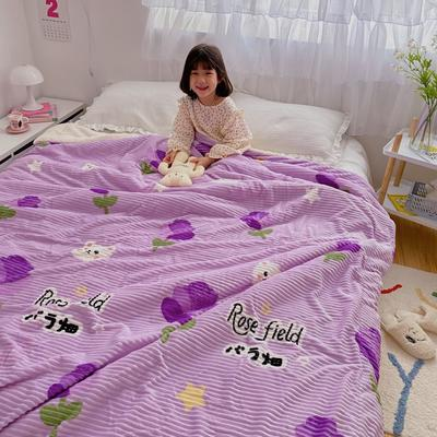 2020新款-牛奶魔法绒毛毯小模特图 200*230 紫玫瑰