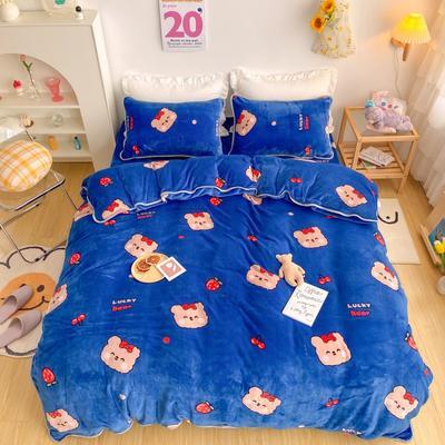 2020新款-韩国ins高端保暖牛奶绒四件套 1.8m床单款四件套 草莓小熊