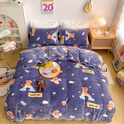 2020新款-韩国ins高端保暖牛奶绒四件套 1.8m床单款四件套 太空熊