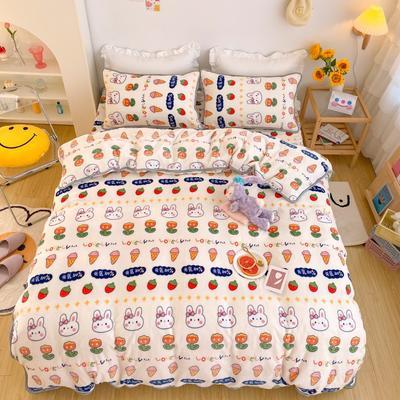 2020新款-韩国ins高端保暖牛奶绒四件套 1.5m床单款四件套 元气兔兔