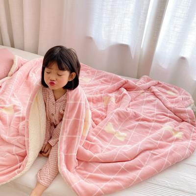 2020新款-ins网红风少女心温暖牌羊羔绒毯 200*230cm 格子蝴蝶结