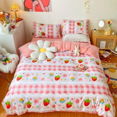 2020新款-棉加绒四件套 1.5m床单款四件套 蕾丝草莓