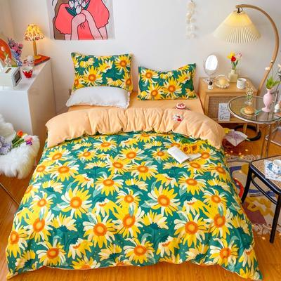 2020新款-棉加绒四件套 1.5m床单款四件套 满满向日葵