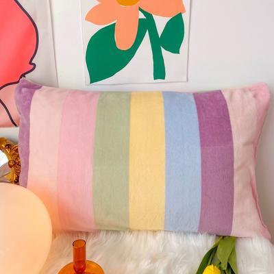 2020新款-奶油撞色牛奶绒系列单品枕套 48*74/只 彩虹