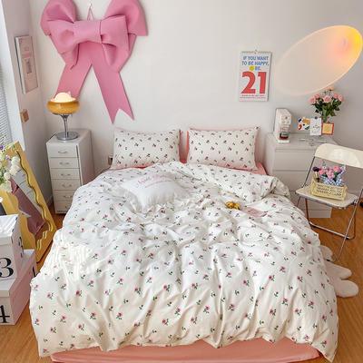 2021全棉13372(40支)系列四件套 1.5m床单款四件套 ins玫瑰