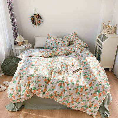 2021开春新品高密度40支13372精梳棉ins韩系复古系列四件套 1.5m床单款四件套 春系桔花