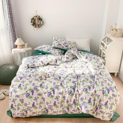 2021开春新品高密度40支13372精梳棉ins韩系复古系列四件套 1.5m床单款四件套 春系紫花