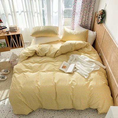 2021新款经典千鸟格全棉系列四件套 1.5m床单款四件套 奶油黄
