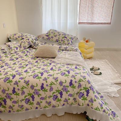 2021新款韩系碎花四件套 1.5m床单款四件套 春系紫花