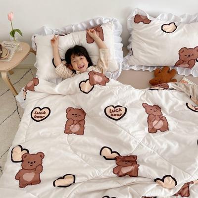 2021新款水洗棉夏被套件 150x200cm三件套 爱心咖熊