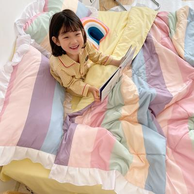 2021新款水洗棉夏被套件 150x200cm三件套 彩虹条纹