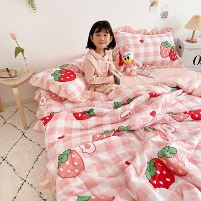 2021新款水洗棉夏被套件 150x200cm三件套 格子草莓