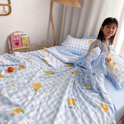 2021新款水洗棉夏被套件 150x200cm三件套 桔子小花