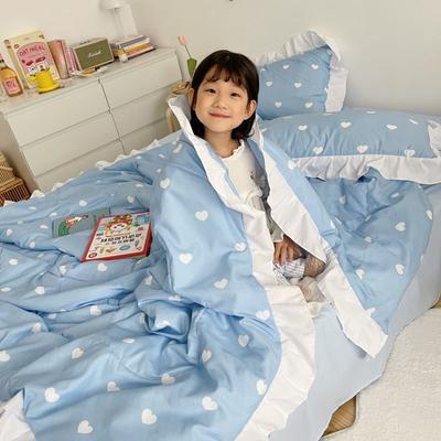 2021新款水洗棉夏被套件 150x200cm三件套 蓝心