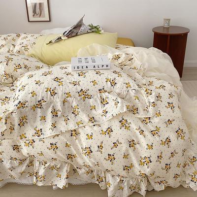 2021新款浪漫的碎花大花边全棉套件 1.5m床单款四件套 ins复古碎碎花