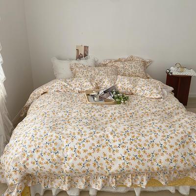 2021新款浪漫的碎花大花边全棉套件 1.5m床单款四件套 灿烂花朵