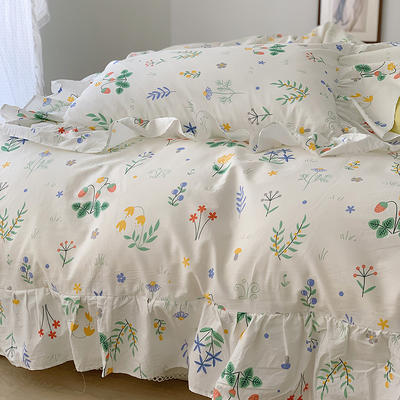 2021新款浪漫的碎花大花边全棉套件 1.5m床单款四件套 春之花