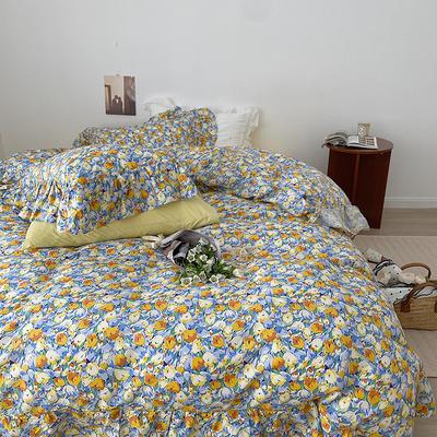 2021新款浪漫的碎花大花边全棉套件 1.5m床单款四件套 繁花