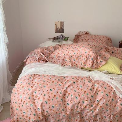 2021新款浪漫的碎花大花边全棉套件 1.5m床单款四件套 韩式草莓