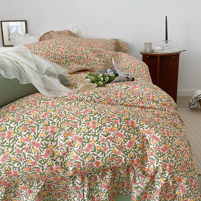 2021新款浪漫的碎花大花边全棉套件 1.5m床单款四件套 花梦