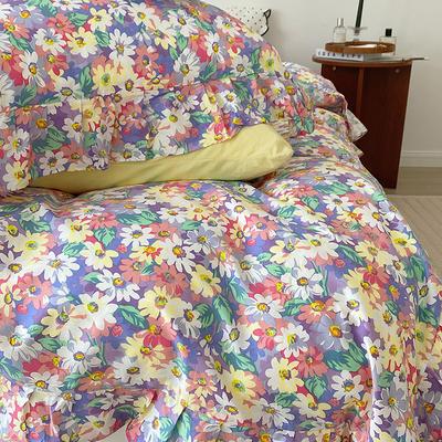 2021新款浪漫的碎花大花边全棉套件 1.5m床单款四件套 水彩碎花