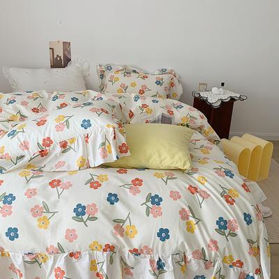 2021新款浪漫的碎花大花边全棉套件 1.5m床单款四件套 亭亭玉立