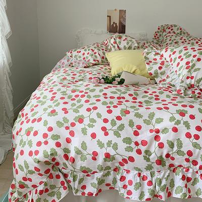 2021新款浪漫的碎花大花边全棉套件 1.5m床单款四件套 夏日草莓