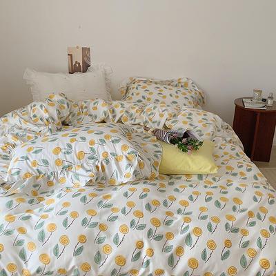 2021新款浪漫的碎花大花边全棉套件 1.5m床单款四件套 小小黄花
