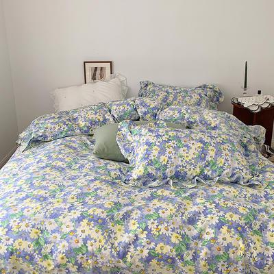 2021新款浪漫的碎花大花边全棉套件 1.5m床单款四件套 油画碎花蓝