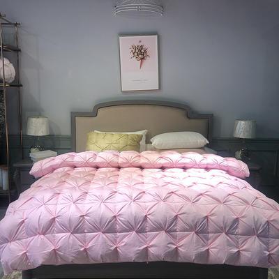 2019新款静享扭花羽绒被 200X230cm90%白鸭绒2.5斤 粉色