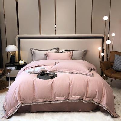 2021新款100支磨毛绣花工艺款四件套系列 1.8m床单款四件套 布鲁塞尔-玫瑰粉