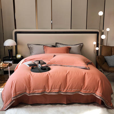 2021新款100支磨毛绣花工艺款四件套系列 1.8m床单款四件套 布鲁塞尔-香橙色