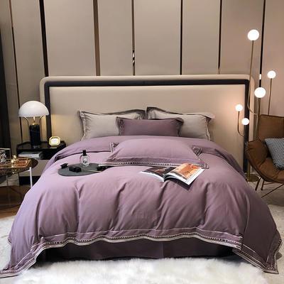 2021新款100支磨毛绣花工艺款四件套系列 1.8m床单款四件套 布鲁塞尔-香芋紫