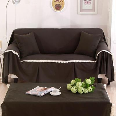 纯色细棉麻沙发巾沙发布艺时尚简约沙发套沙发罩 单独右贵妃170*260cm 卡布奇诺