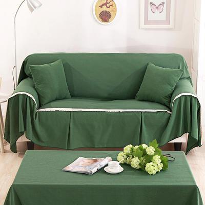 纯色细棉麻沙发巾沙发布艺时尚简约沙发套沙发罩 单独右贵妃170*260cm 绿叶仙魅