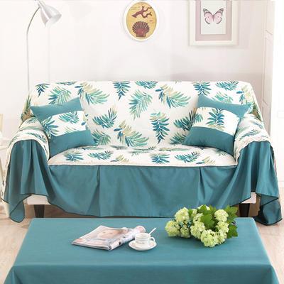 别墅样板房细棉麻全盖沙发巾沙发盖布地中海沙发套 单独右贵妃170*260cm 青亭