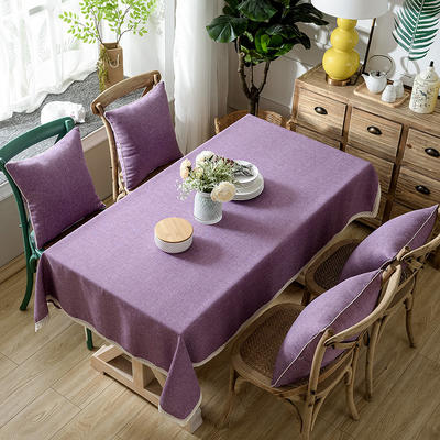 加厚竹节麻桌布茶几布台布长方形正方形可以用 90*90/条 粉紫