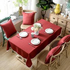 加厚竹节麻桌布茶几布台布长方形正方形可以用 90*90/条 酒红