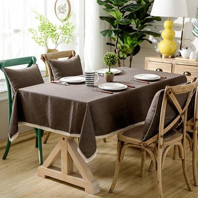 加厚竹节麻桌布茶几布台布长方形正方形可以用 90*90/条 咖啡人生