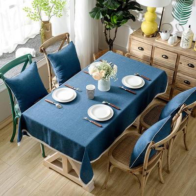 加厚竹节麻桌布茶几布台布长方形正方形可以用 90*90/条 深湖蓝