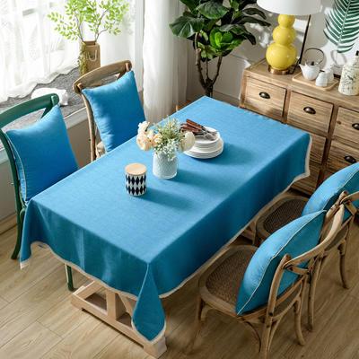 加厚竹节麻桌布茶几布台布长方形正方形可以用 90*90/条 天之蓝