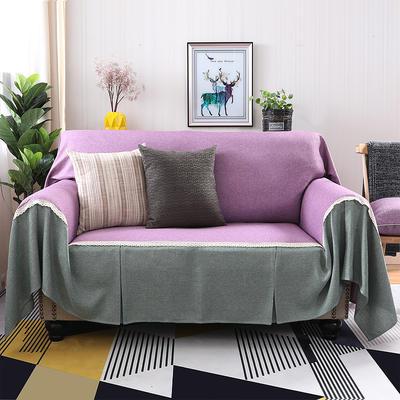 竹节麻全盖沙发套时尚布艺沙发罩沙发巾沙发床套罩 抱枕套45*45/只 粉紫+雅韵