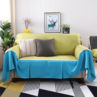 竹节麻全盖沙发套时尚布艺沙发罩沙发巾沙发床套罩 抱枕套45*45/只 秋韵+天之蓝
