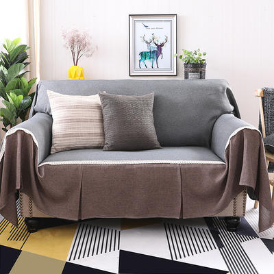 竹节麻全盖沙发套时尚布艺沙发罩沙发巾沙发床套罩 抱枕套45*45/只 黑灰+咖啡