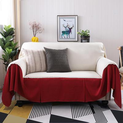 竹节麻全盖沙发套时尚布艺沙发罩沙发巾沙发床套罩 抱枕套45*45/只 小米黄+酒红