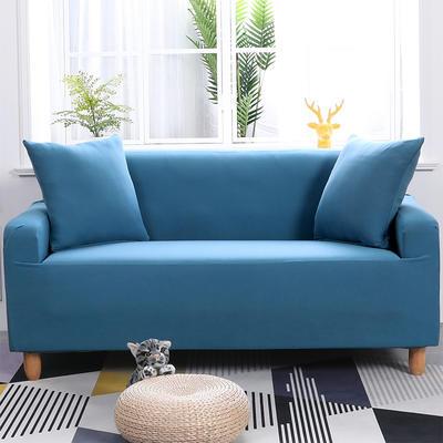 (总)现代简约纯色全包沙发套沙发罩万能套双人组合通用型 三人190-230cm 湖蓝色