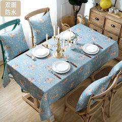双面防水桌布布艺防烫防污餐桌布圆形长方形 130*170椅套 醉梦花都