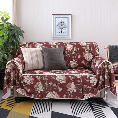 美式田园全盖沙发套沙发罩沙发巾 单独右贵妃170*260cm 妮蒂娅红